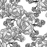 Abstract elegance seamless pattern with floral elements. Vintage flowers. Abstract elegance seamless pattern with floral elements. Flower background Stock Photos