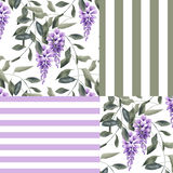 Abstract elegance seamless pattern with glicinia flowers background Royalty Free Stock Image