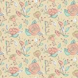 Abstract elegance seamless pattern with hand drawn flowers. Stock Photography