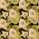 Abstract elegance seamless pattern with roses flowers background Royalty Free Stock Image