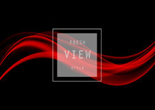 Abstract elegant art design template. With red smooth waves in dynamic style on black background. Vector illustration stock illustration