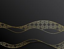 Abstract elegant 3d paper cut background. Arabic geometric pattern with golden lines. Wave overlapping with shadow modern concept Royalty Free Stock Image