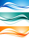 Abstract elegant dynamic wavy lines set. In blue turquoise orange colors and bright smooth soft style. Vector illustration stock illustration