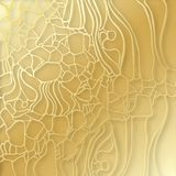 Abstract elegant golden cell texture. Paper cut cobweb. 3d tile surface. Elegant futuristic ornament with shadows and layers Royalty Free Stock Photo