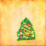 Abstract elegant grunge christmas tree card Royalty Free Stock Photos