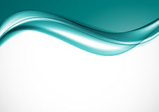 Abstract elegant light design template. With turquoise bent wavy lines in dynamic soft style on white background. Vector illustration vector illustration