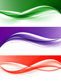 Abstract elegant light wavy lines set. In green purple red colors and smooth dynamic style. Vector illustration stock illustration