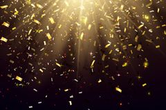 Abstract Elegant Shining Background with Falling Shiny Gold Glitter Confetti. Vector illustration Stock Images