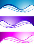 Abstract elegant waves set. In blue purple pink colors and smooth soft dynamic style. Vector illustration vector illustration
