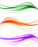 Abstract elegant wavy bright lines set. In purple orange green colors and smooth dynamic soft style on transparent background. Vector illustration royalty free illustration