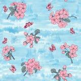 Abstract Elegantie Naadloos patroon met bloemenachtergrond Stock Foto's