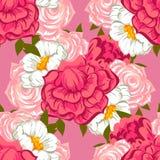 Abstract Elegantie Naadloos patroon met bloemenelementen Stock Foto