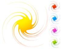 Abstract element cirkel, radiaal vervormd ontwerpelement col. Stock Afbeeldingen