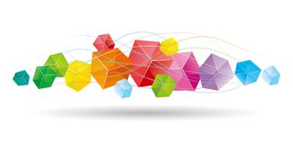The abstract element of the cube. The abstract element of the cube, the background is white stock illustration