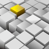 An abstract element made up of cubes. An abstract element made up of cubes, one of which is golden royalty free illustration