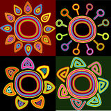Abstract elements. Abstract sun and flower symbols. Vector illustration Royalty Free Stock Photography