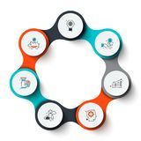 Abstract elements of cycle diagram with 7 steps, options or processes. Creative concept for infographic. Business data visualization. Abstract elements of cycle stock illustration