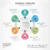 Abstract elements of cycle diagram with 6 steps, options, Vector illustration, web design, presentation, diagram, flower chart,. Vector illustration for Royalty Free Stock Images
