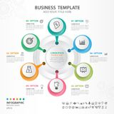 Abstract elements of cycle diagram with 6 steps, options, Vector illustration, web design, presentation, diagram, web icon vector. Abstract elements of cycle Royalty Free Stock Photo