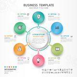 Abstract elements of cycle diagram with 6 steps, options, Vector illustration, web design, presentation, diagram, workflow layout. Illustration for business Royalty Free Stock Photos