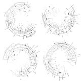 Abstract elements set of circular lines and rays Royalty Free Stock Images