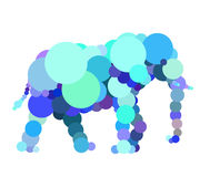 Abstract elephant drawn with circles. Stock Image