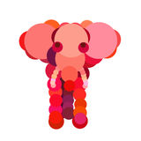 Abstract elephant drawn with circles Stock Photo
