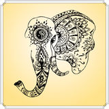 Abstract elephant in Indian style mehndi, hand drawing Stock Photography