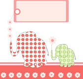Abstract elephants with blank tag Royalty Free Stock Images