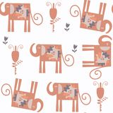 Abstract elephants nature fauna seamless pattern in vector. It i royalty free stock images