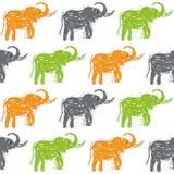 Abstract hand-drawn Elephants vector seamless background pattern. Abstract  Elephants vector seamless background pattern Royalty Free Stock Photos