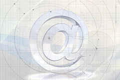 Abstract Email Background. An abstract illustrated email background with a 3D '@' sign at the center Royalty Free Stock Photography