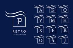 Abstract embleemontwerp Moderne Emblemen Reeks Monogrammen met Hoofdletters Teken van onderscheid Minimumelementen Universele Tem Royalty-vrije Stock Afbeelding