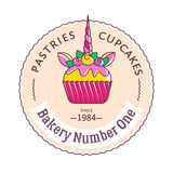 Abstract emblem of Bakery with illustration of unicorn cupcake,. Text Pastries, Cupcakes, Bakery Number One, Since 84. Sweet label, badge, stamp or logotype Stock Illustration