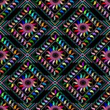 Abstract embroidered paisley seamless pattern. Vector colorful p. Atterned floral background. Tapestry ethnic tribal style paisley flowers, rhombus grunge frames royalty free illustration