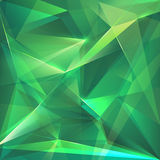 Abstract emerald green crystal faceted background Stock Images