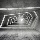 Abstract empty bent concrete corridor interior, 3d Royalty Free Stock Image