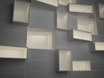 Abstract empty boxes in wall Stock Photo