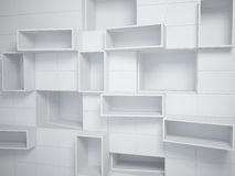 Abstract empty boxes in wall Stock Images