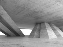 Abstract empty concrete interior 3d render. Abstract empty concrete interior with inclined columns and window, 3d render illustration Royalty Free Stock Image