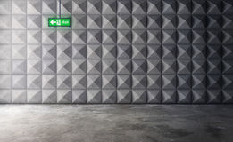 Abstract empty concrete interior with polygonal wall pattern and Stock Image