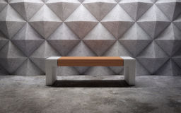 Abstract empty concrete interior with polygonal wall pattern and Stock Photos
