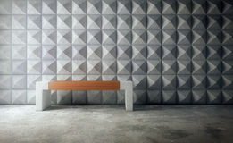 Abstract empty concrete interior with polygonal wall pattern and Royalty Free Stock Image