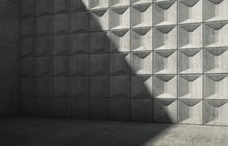 Abstract empty concrete interior 3 d. Abstract empty concrete interior with shadow on wall. Minimalism architectural style, 3d render illustration Stock Images