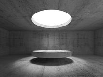 Abstract empty concrete interior, showroom. With round ceiling light and stage under it. 3d illustration Royalty Free Illustration