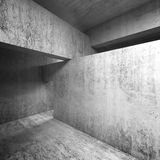 Abstract empty concrete interior, walls and ceiling. Girders, square 3d illustration Stock Photography