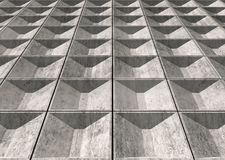 Abstract empty concrete wall perspective 3d. Abstract empty concrete wall perspective with decorative relief tiling, industrial minimalism architecture, 3d Stock Photo