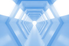 Abstract empty cool blue shining tunnel with light in the end. 3D Render. Stock Photography