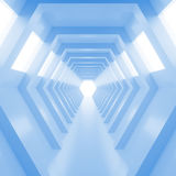 Abstract empty cool blue shining tunnel with light in the end. 3D Render. Blue light tunnel with light at the end. Shiny glossy surface. Abstract background Royalty Free Stock Photography