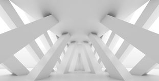Abstract empty corridor perspective, 3d render. Abstract empty corridor perspective with diagonal columns in a row, blank white interior background, 3d stock illustration